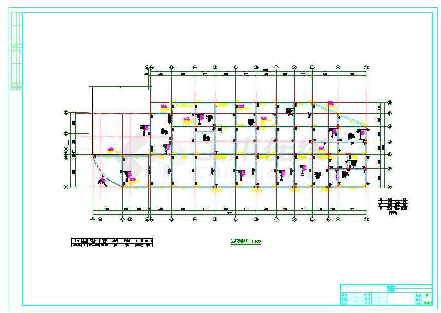 地上二层框架结构商业区cad图-图1