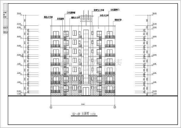 某地七层住宅楼建筑设计图(共7张)-图2