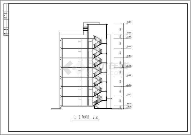 某地七层住宅楼建筑设计图(共7张)-图3