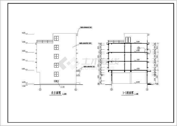 某公司四层宿舍楼建筑设计图(共9张)-图2