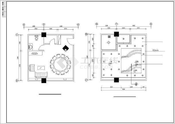 某大酒店餐厅室内装修cad规划布置图-图1
