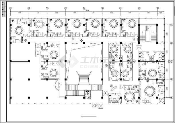 某大酒店餐厅室内装修cad规划布置图-图2