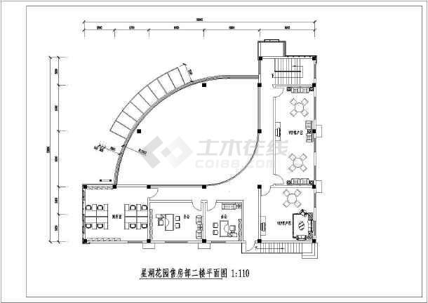某楼盘售楼部室内装饰cad施工图-图2