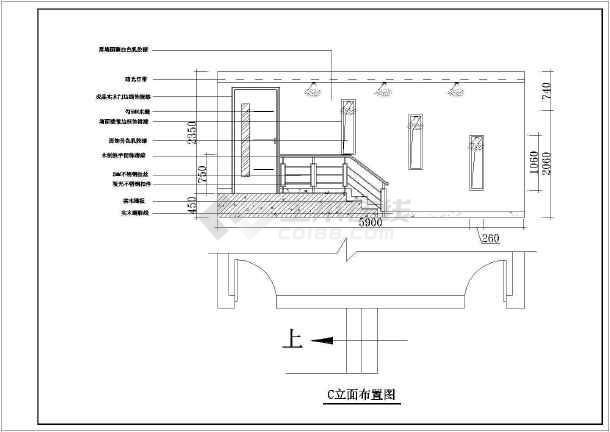 某四室户型室内设计装修cad施工图-图3