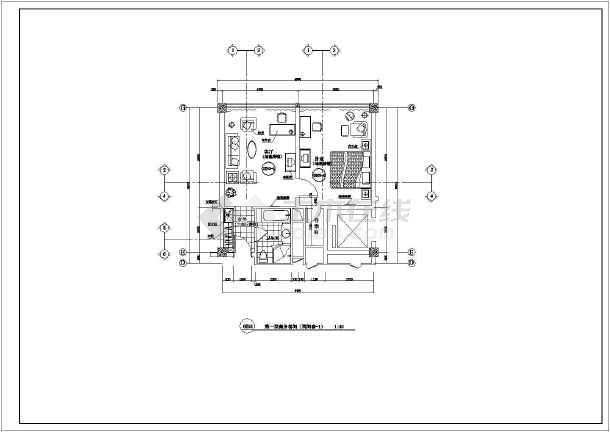 某酒店客房室内装修cad施工图-图1
