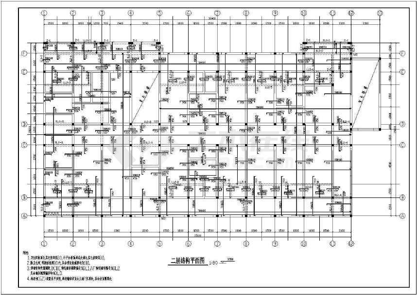 某地二层医院传染病房结构施工图纸-图1