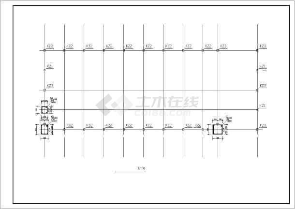 天门市某一层框架中学食堂结构设计图-图1