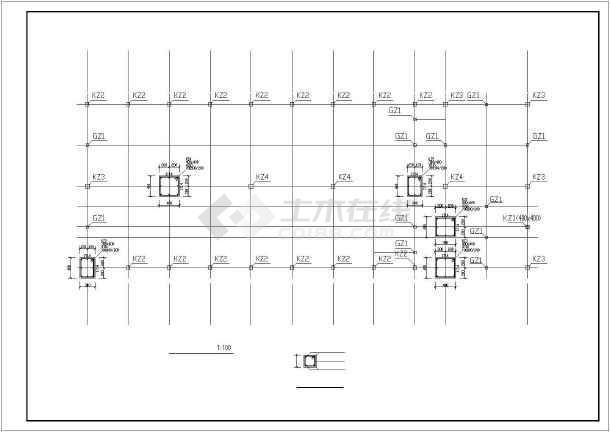 天门市某一层框架中学食堂结构设计图-图2