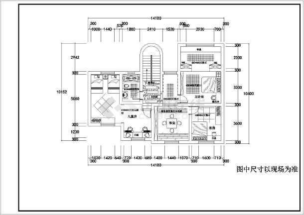 某精品二层别墅室内装饰cad施工图-图1