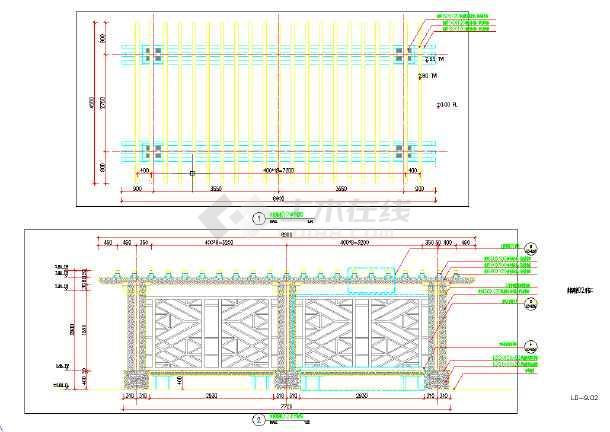 中式休闲廊架木结构图(内含平、立、剖面)-图1