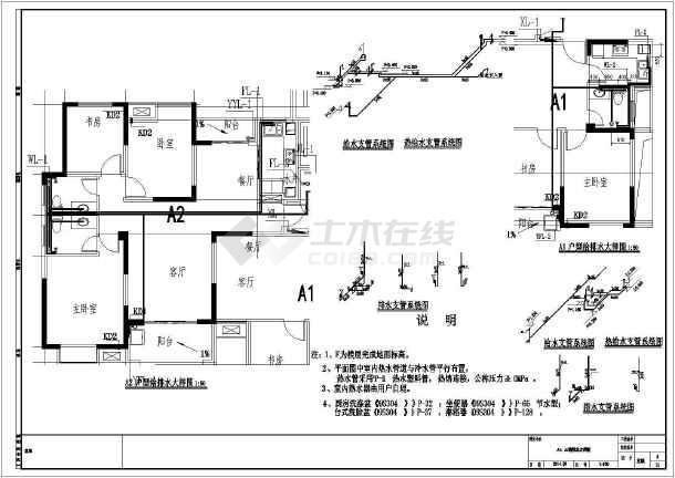 安徽高层住宅小区及其配套建筑给排水施工图-图2