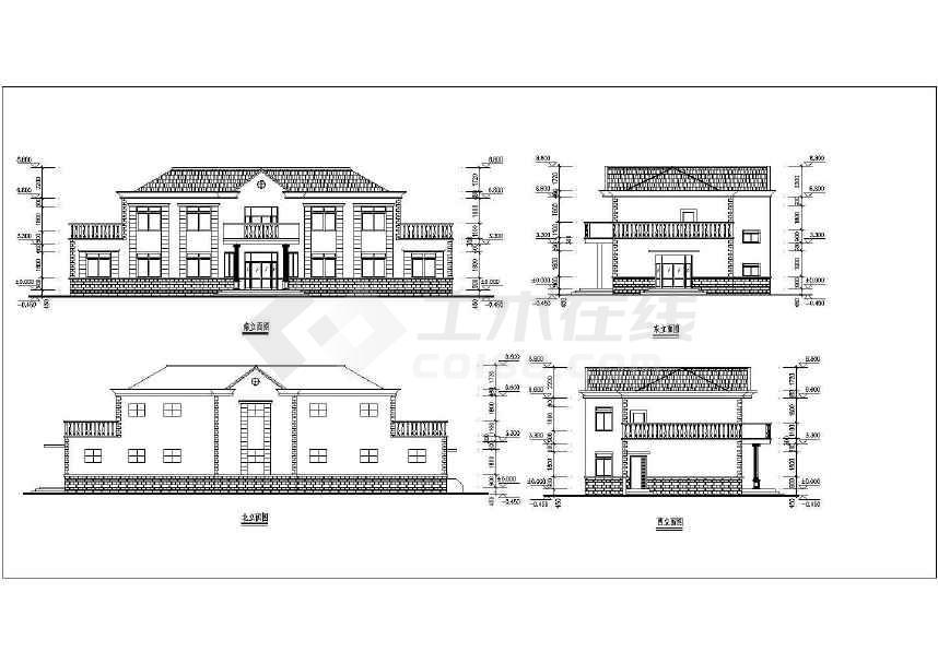 某地小型别墅建筑施工图CAD图纸(共6张)-图2