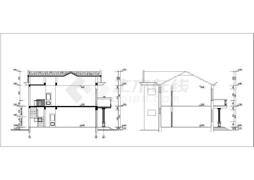 某地小型别墅建筑施工图CAD图纸(共6张)-图3
