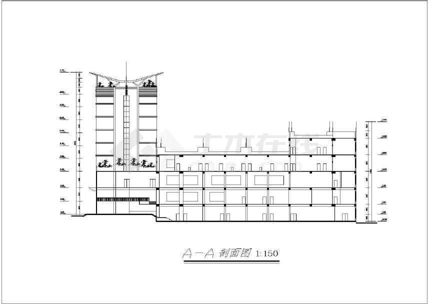 风云大酒店建筑cad施工图(共12张)-图3