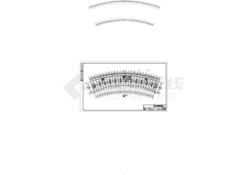 10层扇形办公室钢框架建筑结构施工图-图1