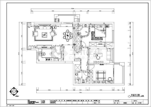 简欧三室住宅装修设计施工图-图3