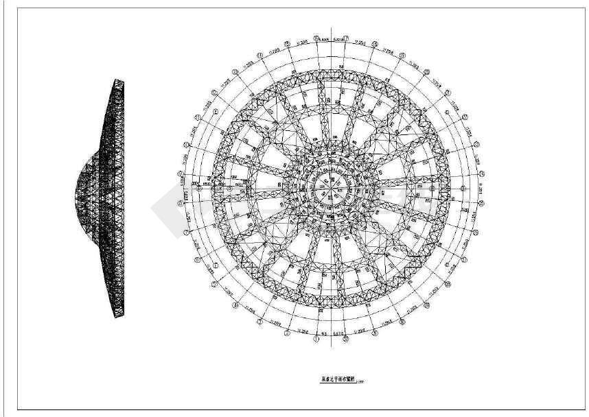 经典钢结构体育馆屋盖施工图-图3