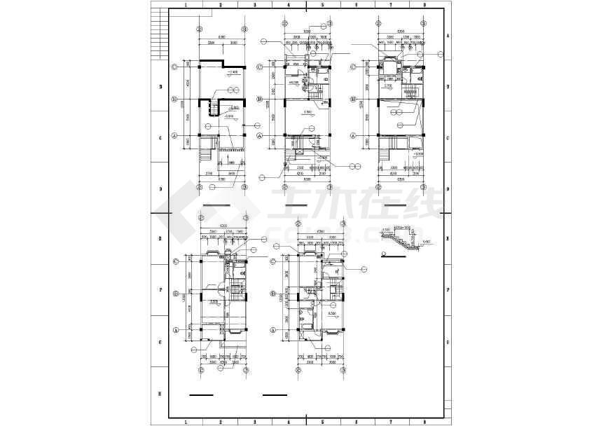 某地三层联排别墅建筑施工图-图1