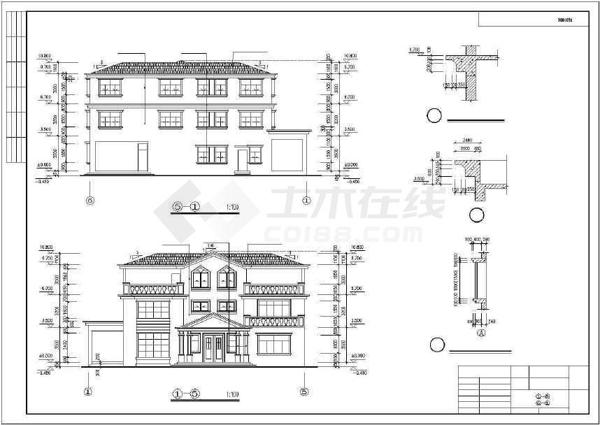 比较实用的别墅建筑施工图-图2