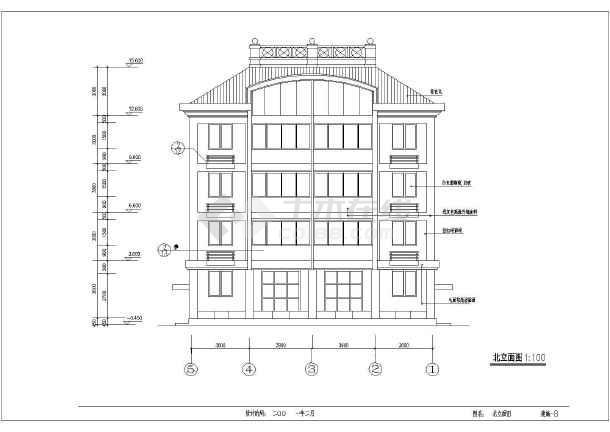 某5层私宅建筑施工设计CAD图-图2