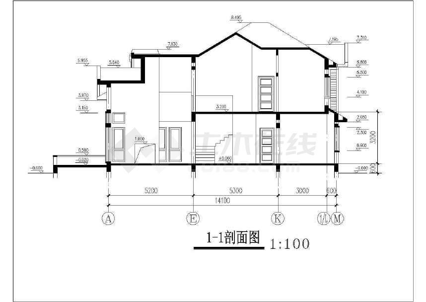 简单常用的别墅建筑设计图-图1