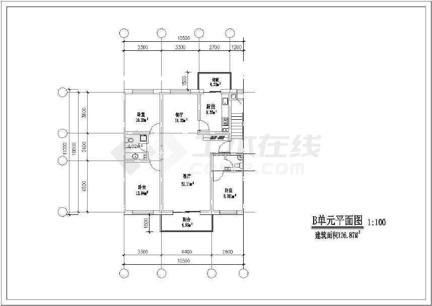 简单的一套北方住宅户型方案cad图(共16张)-图3