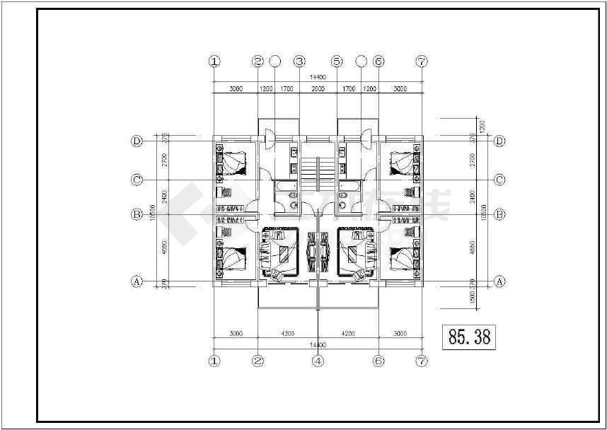 某地小型的北方住宅户型建筑cad图纸(共6张)-图1