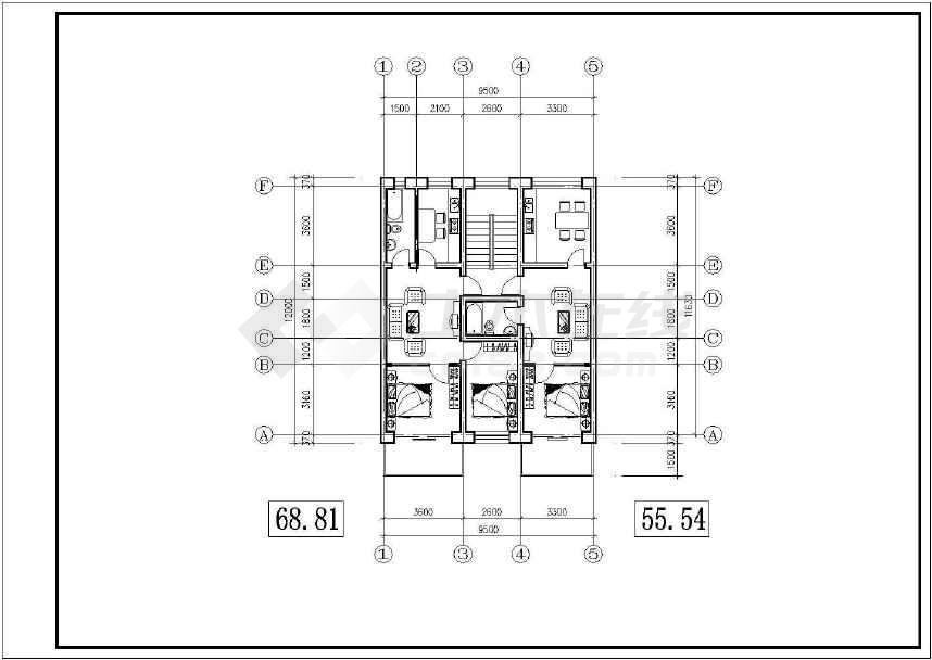 某地小型的北方住宅户型建筑cad图纸(共6张)-图3