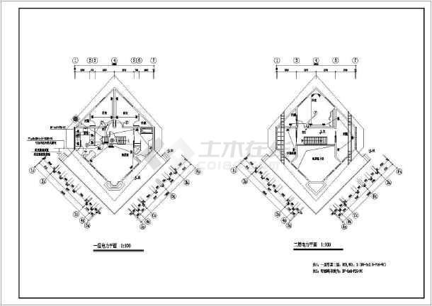 某高档山庄别墅电气施工图CAD图纸-图3