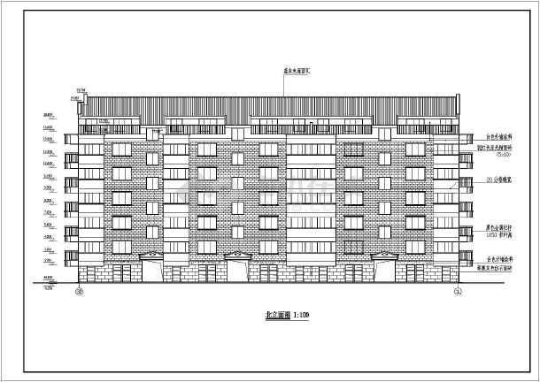 某小区六层住宅建筑施工设计CAD图-图1