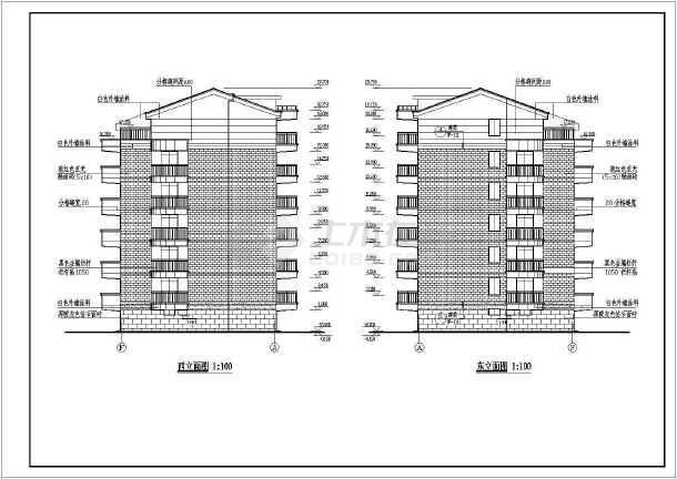 某小区六层住宅建筑施工设计CAD图-图2