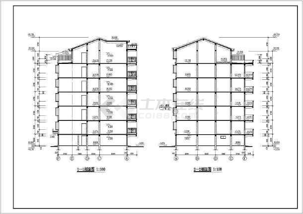 某小区六层住宅建筑施工设计CAD图-图3
