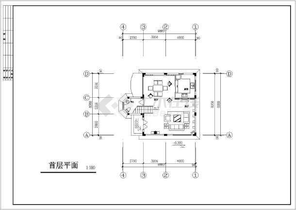 某地区别墅装修建筑设计CAD图纸-图1