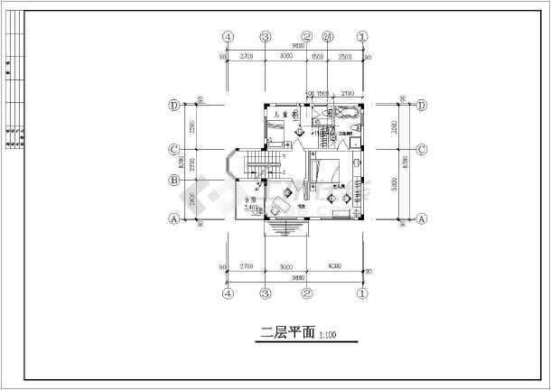 某地区别墅装修建筑设计CAD图纸-图2