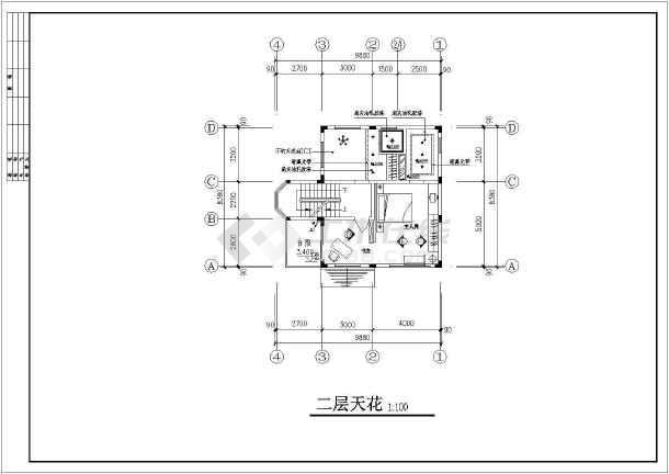 某地区别墅装修建筑设计CAD图纸-图3