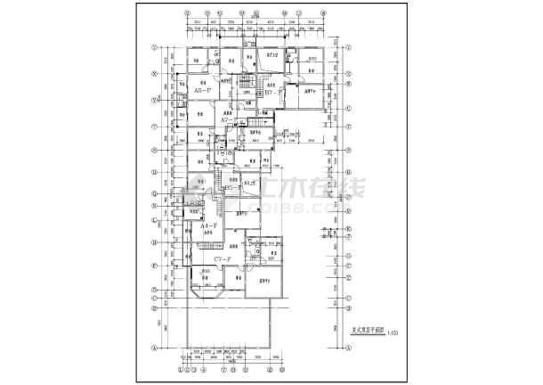 九龙园多层住宅楼建筑施工设计CAD图-图3