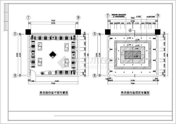 某大型会议室排练厅及贵宾接待室装饰施工图纸-图2