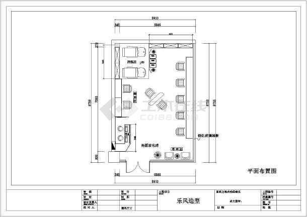 乐风理发店全套装修设计施工图-图2