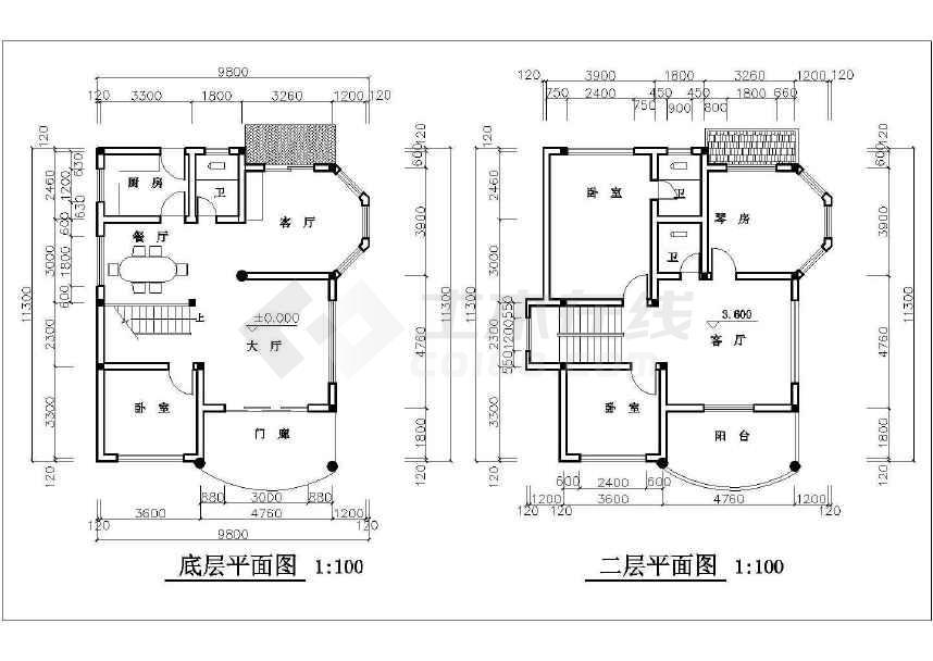 简单的小型别墅建筑施工图CAD图纸-图1