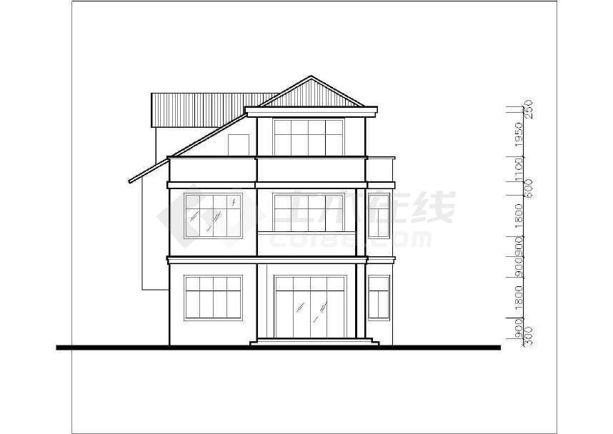 简单的小型别墅建筑施工图CAD图纸-图2