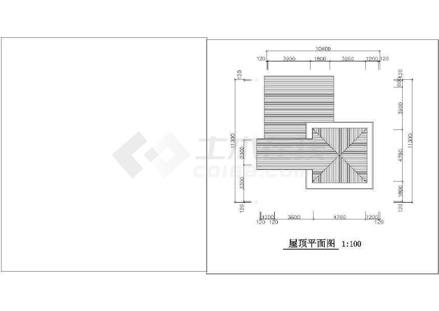 简单的小型别墅建筑施工图CAD图纸-图3
