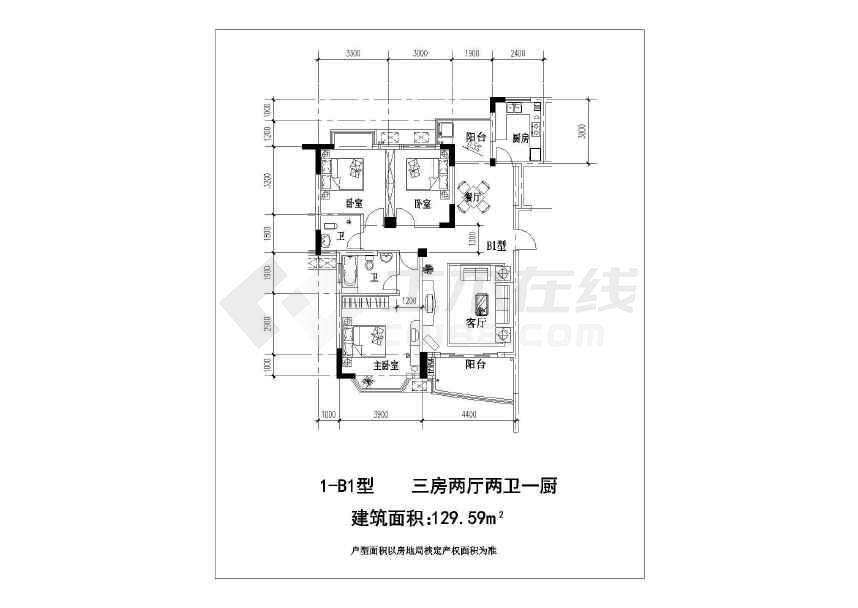 比较实用的户型建筑cad图纸-图3