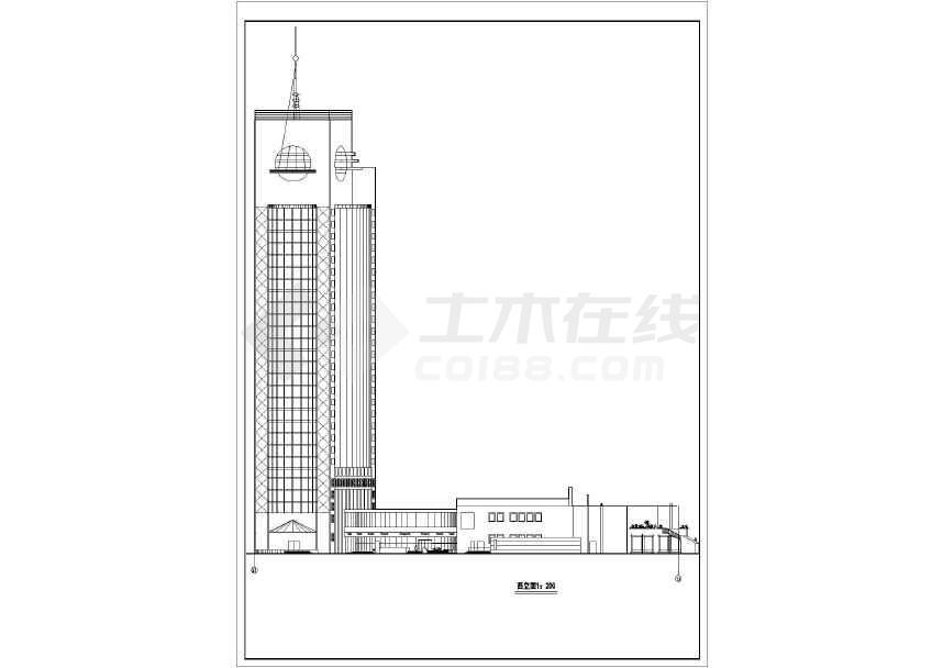 高层宾馆建筑cad方案图(节点详细)-图1