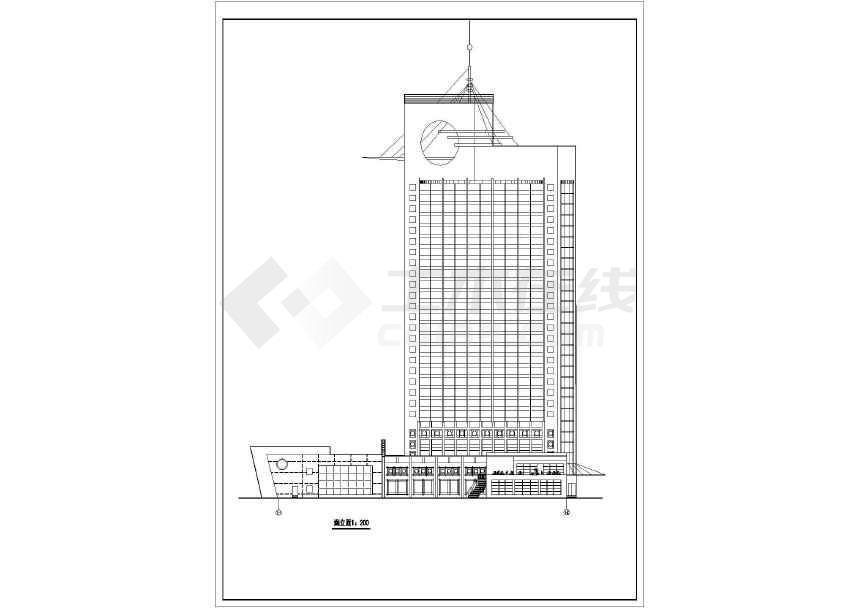 高层宾馆建筑cad方案图(节点详细)-图2
