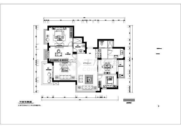 星海家苑三居室全套装修设计图纸-图3