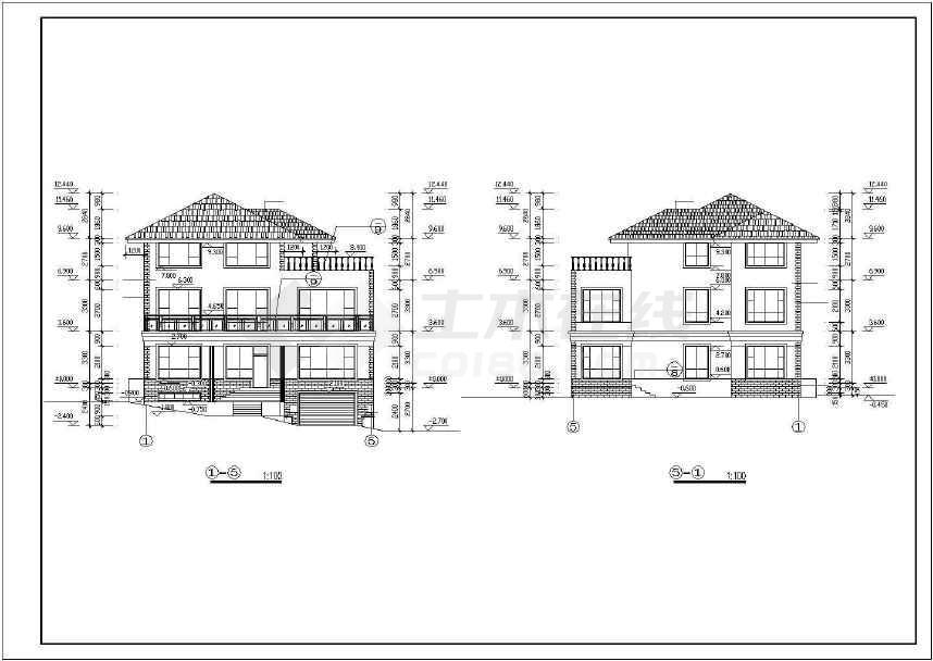 某地别墅建筑施工图(共8张)-图3