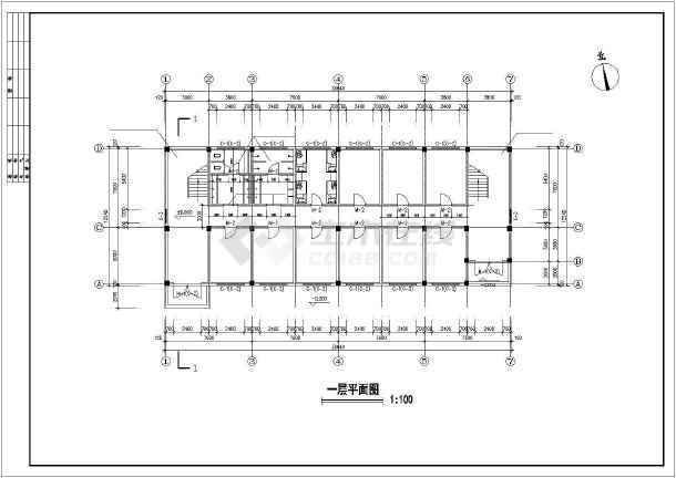 某公司宿舍建筑设计cad施工图-图3