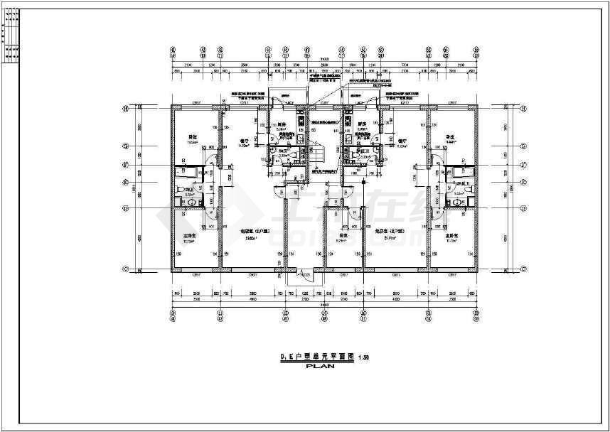 某地北方住宅楼建筑单元户型图(共4张)-图1
