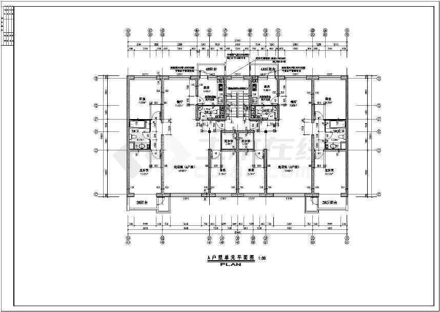 某地北方住宅楼建筑单元户型图(共4张)-图2