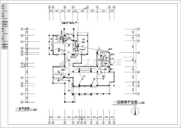 某新式别墅电气设计图CAD图纸-图3